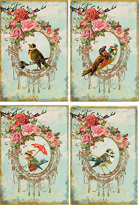 Vintage inspired Bird small note cards tags set of 8 with envelopes