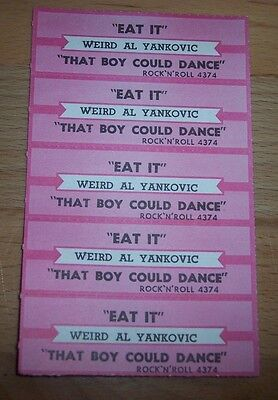 "5 Weird Al Eat It / That Boy Could Dance Jukebox Title Strip  7"" 45RPM Records"