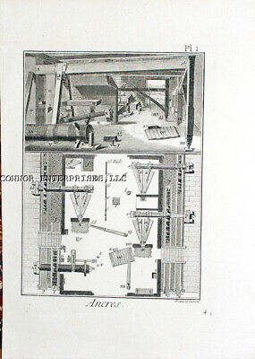 1779 DIDEROT 6 ORIGINAL ENGRAVINGS ANCHOR MANUF SHOPS EQUIPMENT 1002, used for sale  Shipping to Canada