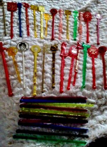 Lot 40 VINTAGE Stir SWIZZLE Sticks Bar Casino Restaurant Variety Plastic Lucite