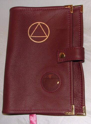 Genuine Leather AA Big Book NEW BURGUNDY Cover  Alcoholics Anonymous SYMBOL