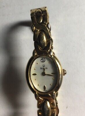 VINTAGE Jewelry BULOVA Ladies Watch Gold Tone Band Diamond Accent Face MOP
