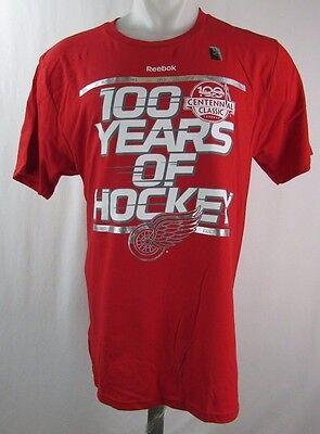 Detroit Red Wings Reebok Men's Red Centennial Classic 100 Years T Shirt ()