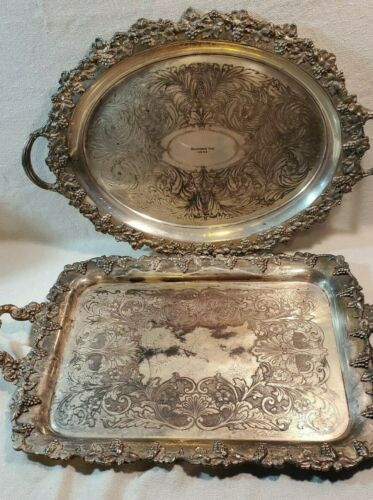 2 Vintage Trays SILVER PLATED ON COPPER Sheffield and Old English Reproductions