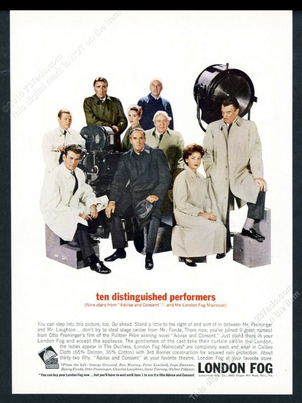 1962 Otto Preminger Henry Fonda Advise and Consent cast photo London Fog coat ad