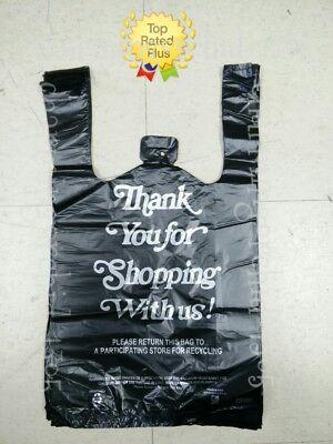 10x 5x 18 Hdpe Black Thank You Plastic T-shirt Bags 18 Retail Shopping Bags