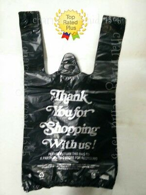Hdpe Small 8x 4x 15 Black Thank You Plastic T-shirt Bags 110 Shopping Bags