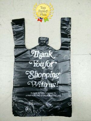 Black Thank You Plastic T-shirt Bags 18 Retail Shopping Bags 10 X 5 X 18