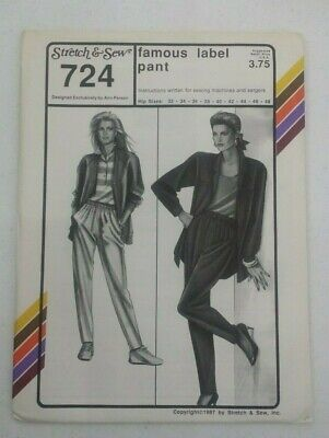 STRETCH & SEW LADIES FAMOUS LABEL PANT PATTERN 724 SIZE 32-48 FREE SHIPPING    Womens Famous Label