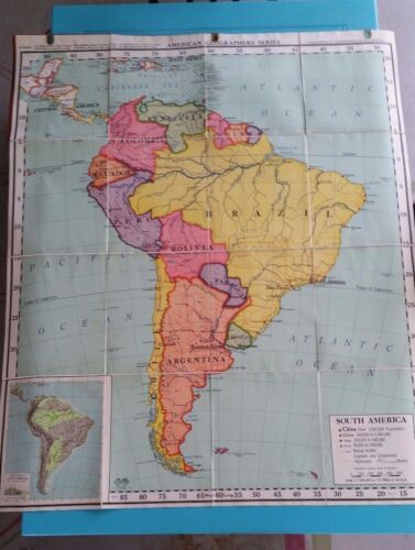 A.J. Nystrom Map of South America - Vintage -  Large Size