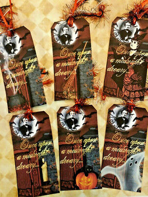 Midnight Dreary~Halloween~6 Gift Hang Tags~Scrapbooking~Card Making Crafts  - Make Halloween Gift Tags