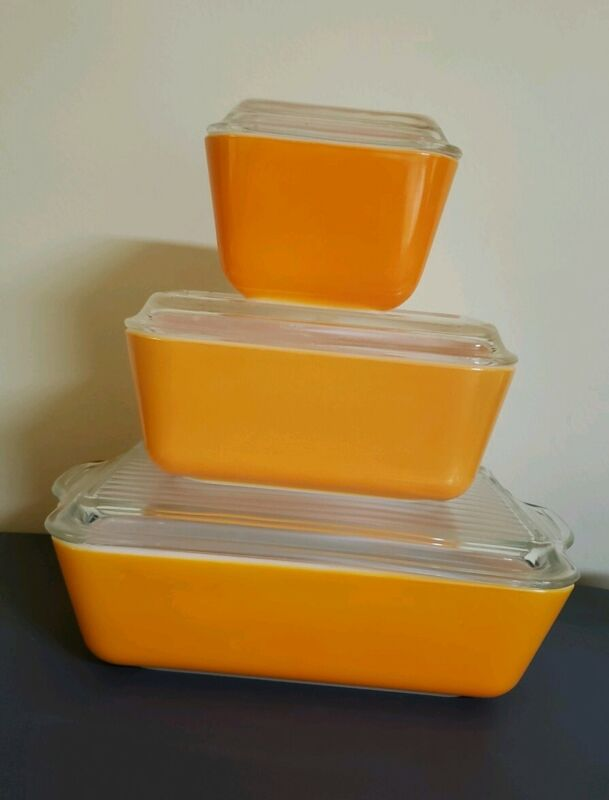 3 PYREX Orange REFRIGERATOR DISHES & LIDS #501,#502,#503