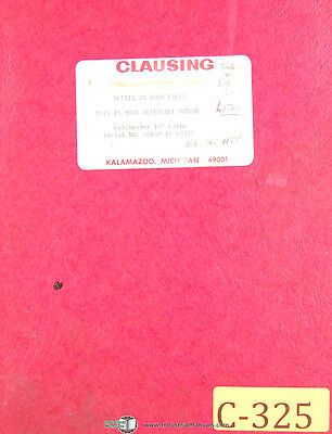 Clausing Colchester 13 Serial 58650 To 63742 Lathe Operations Parts Manual