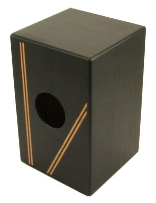 """CAJON BOX DRUM Black Finish with Gig Bag Acoustic Drum FULL SIZE 19"""" w/ Snare"""