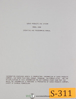 Servo Model 8000 Cnc System Controller Operations Programming Manual