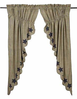 VINCENT Scalloped Prairie Curtain Set Khaki/Navy Applique Star Rustic -