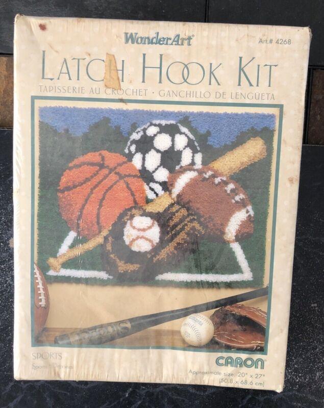 "Sealed Caron/Wonder Art Sports #4268 Latch Hook Kit 20x27"" Rug Canvas"