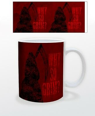 HALLOWEEN-WHY SO GRIM? 11 OZ COFFEE MUG SCARY FUN KIDS PUMPKIN OCTOBER CURSE CUP