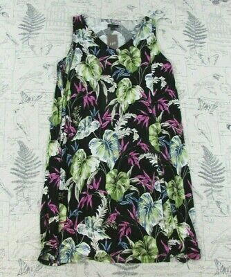 NEW $119 J.Jill Black Multi spring Floral Tropical Wear Ever Collection Dress PM Multi Wear Dress