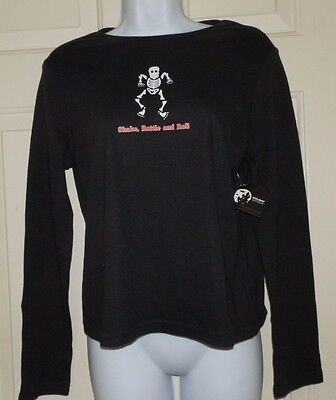 Halloween Shirts Womens (New Womens size Large Shake Rattle and Roll Halloween T-Shirt Skeleton)