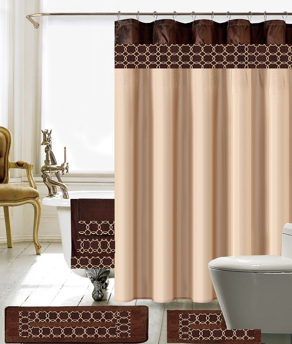 18 Piece Charlton Embroidery Banded Shower Curtain Bath Set