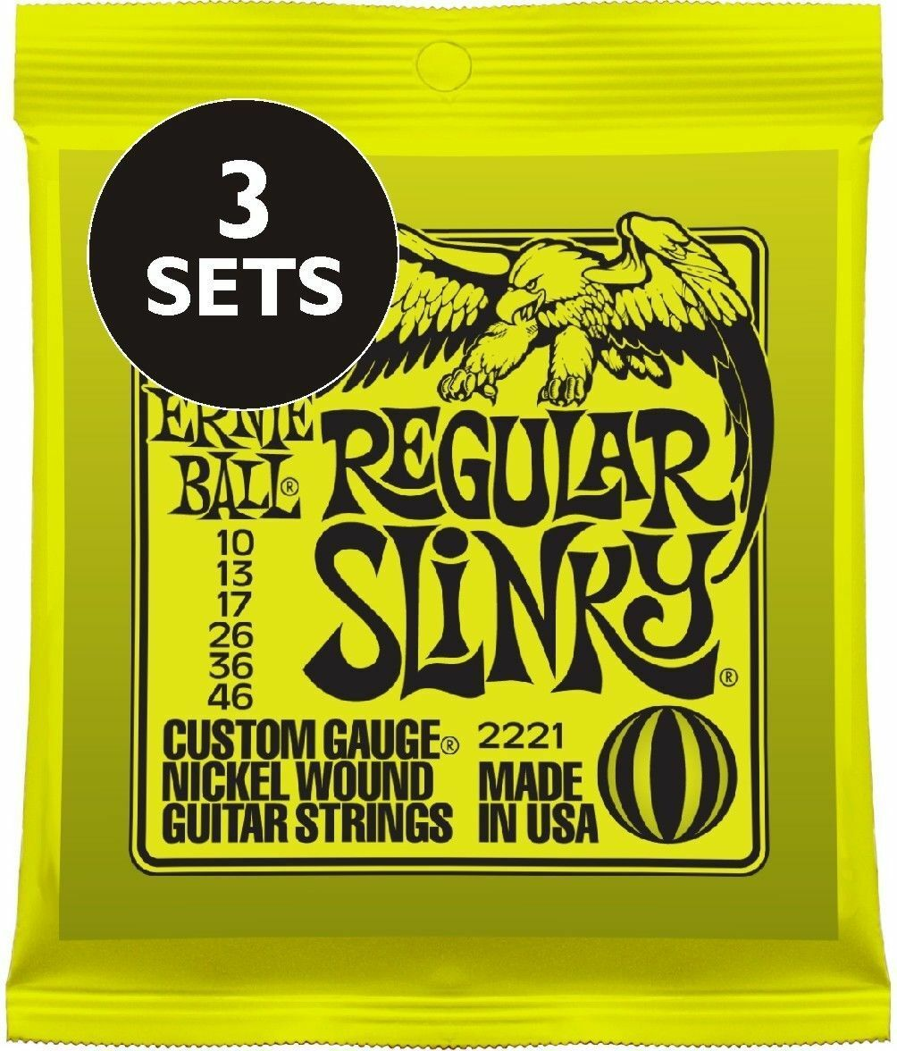 Picks or 3 Pack / 3 Sets of Ernie Ball 3221 Regular Slinky Electric 10-46 Extras