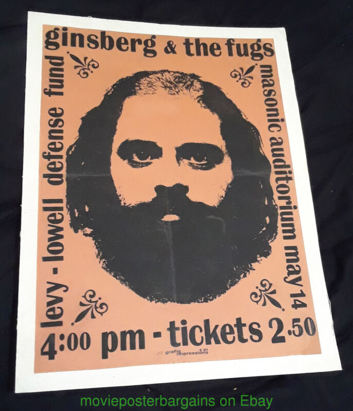 ALLEN GINSBERG AND THE FUGS POSTER MASONIC AUDITORIUM LEVY LOWELL DEFENSE FUND