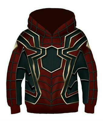 Kids Iron Spider-Man Hoodie Avengers Infinity War Spiderman Boy Coat Jacket New