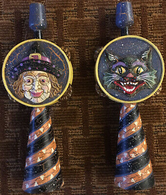 Neiman Marcus Wood Halloween Witch and Black Cat Candle Stick Holders Beautiful