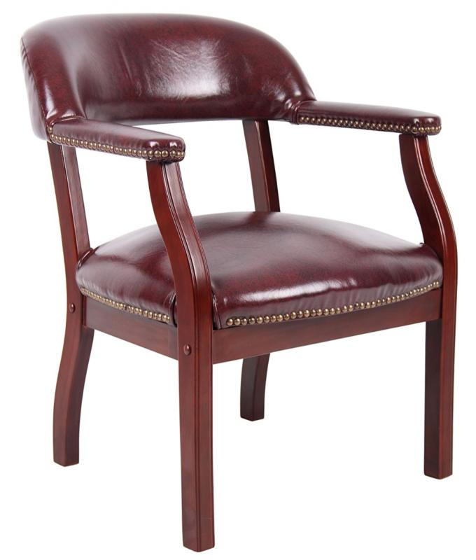 Boss Captain'S Chair In Black Vinyl W/ Casters