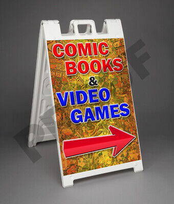 Comic Books Video Games Signicade 2 Sided A-frame Sign Sidewalk Store Street