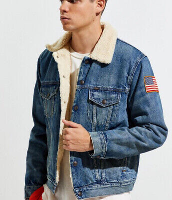 Polo Ralph Lauren Sherpa Fleece Lined Denim Trucker Jacket XL Blue sportsman