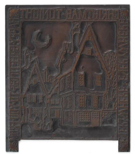 Vintage Typeset Metal On Wood Christmas Greetings Printing Block Stamp
