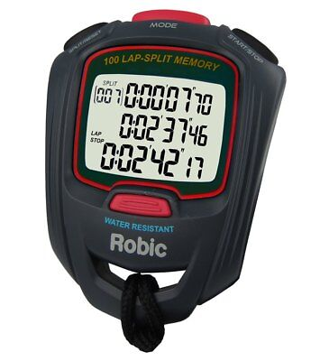 Robic SC-717 STOPWATCH 100 Dual Memory Three Line Display Countdown Timer