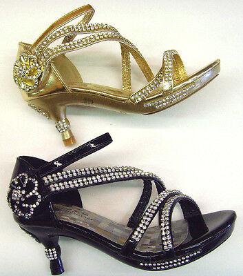 Dress Party Pageant Shoes (New Youth Kid's Girl's Rhinestones Low Heel Party Pageant Sandals Dress Shoes )