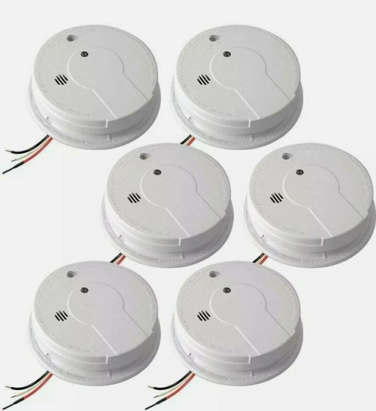 Kidde FireX i12040 AC - Pack of 6 Hardwired Interconnect Smoke Alarm with Hush™