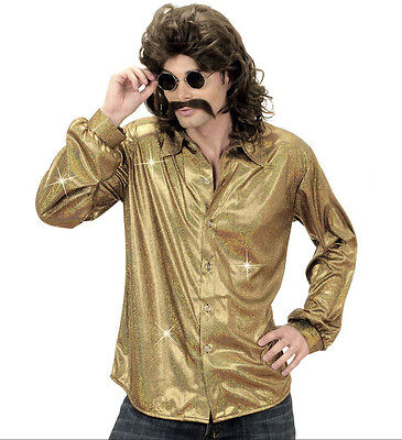 Disco Hemd Saturday Night Fever 70er Jahre Kostüm Hippie Holographic gold Gr. XL
