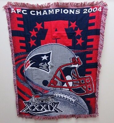 (2004 AFC Champions New England Patriots 48 x 60 in Woven Tapestry Throw Blanket)