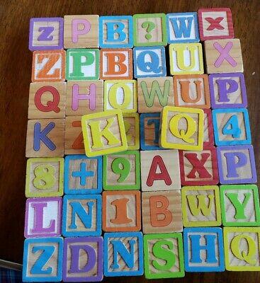 Vintage Large Wooden Blocks ABC Alphabet Numbers 123 - 44 Blocks