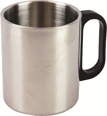 GRANDE ACCIAIO isolato tazza - 300ml ARGENTO COPPA/campeggio per bevande calde
