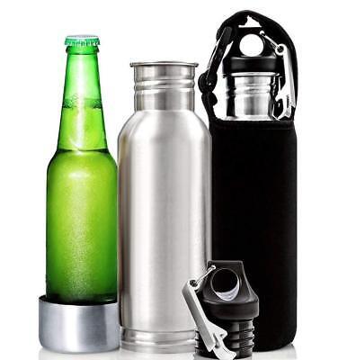 Stainless Steel Beer Bottle Koozie w/ Neoprene Sleeve, Silver Black Blue & - Pink Sword