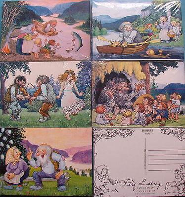 5 Karten Postkarten Trolle Motive Rolf Lidberg Schweden