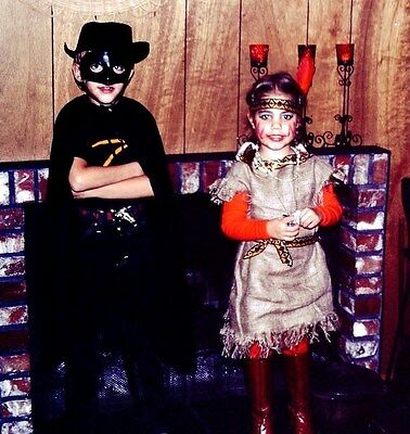 Vintage Slide Two Cute Kids in Halloween Costumes Zorro & Pochahontas](Pochahontas Costumes)