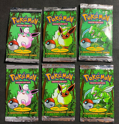 EMPTY Pokémon Card Booster Packs 3x Jungle & 3x Jungle 1st Edition