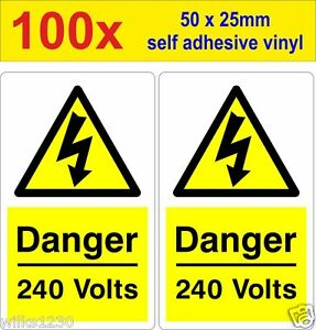 100 Danger 240 Volt Mains Voltage Electrical Warning Safety Labels decal sticker
