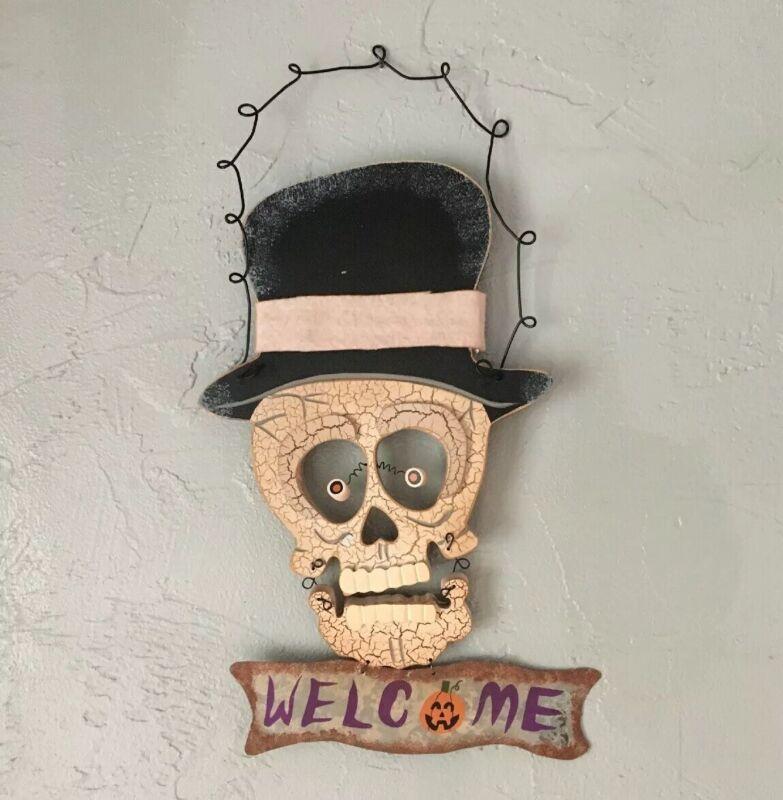 Vintage Skeleton Skull Halloween Wooden Decor Hanging Welcome Sign Rustic
