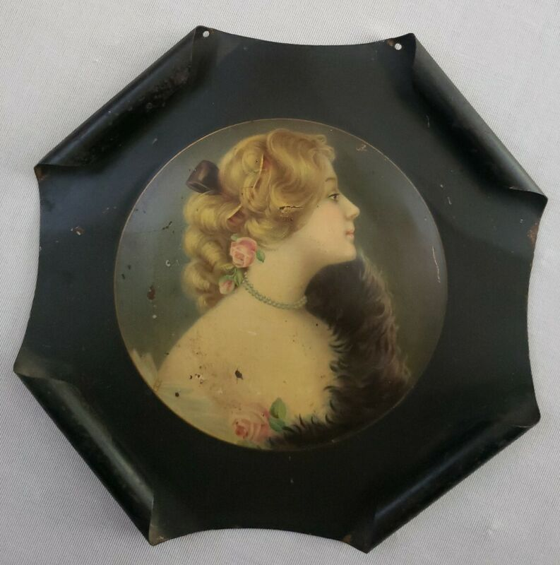 Rare Antique 1907 Meek Co Advertising Tin Portrait Mildred JW Huff Undertakers