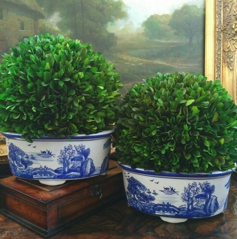 Stunning Blue White Chinoiserie Oblong Canton Bulb Orchid Cachepot Planter Pair