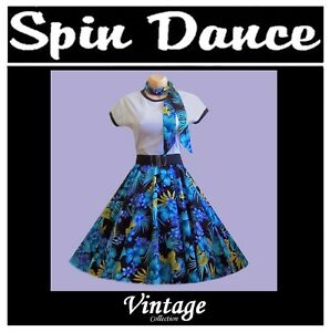 50s 60s Rock n Roll Vintage Style Rockabilly Swing Full Circle Skirt & Scarf