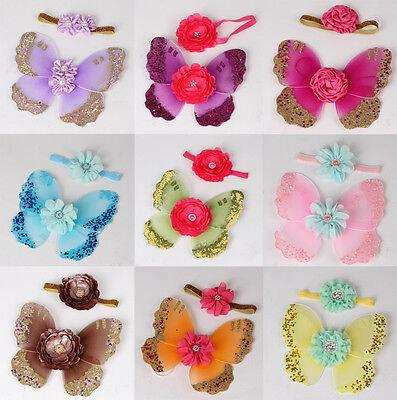 Boys Girls Flower Headband Butterfly Wings Baby Photo Props  (Baby Butterfly Wings)